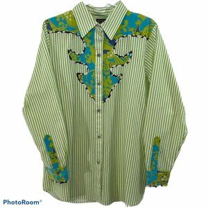 KOOS Of Course Silk Blend Button Down Blouse M
